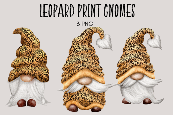 Print on Demand: Leopard Print Gnomes Graphic Illustrations By Celebrately Graphics