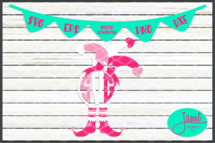 Monogram Valentine's Day Jester with Bow Graphic Crafts By jamidesignco