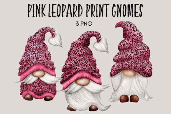 Print on Demand: Pink Leopard Print Gnomes Gráfico Ilustraciones Por Celebrately Graphics