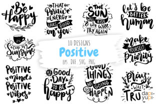 Positive Lettering Quotes Bundle Graphic Crafts By dapiyupi