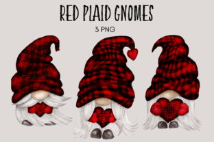 Print on Demand: Red Plaid Gnome Clipart Graphic Illustrations By Celebrately Graphics
