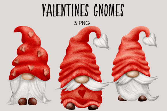 Print on Demand: Red Valentines Gnome Clipart Graphic Illustrations By Celebrately Graphics