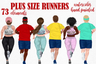 Print on Demand: Runners Clipart Plus Size People Graphic Illustrations By LeCoqDesign