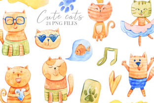 Print on Demand: Watercolor Cute Cats Clipart Graphic Illustrations By Tiana Geo