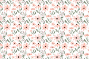 Print on Demand: Peach Petal Flower Watercolor Pattern Graphic Illustrations By elsabenaa