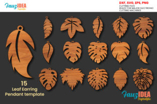 Print on Demand: 15 Leaf Earrings SVG Template Gráfico Crafts Por FauzIDEAStudio