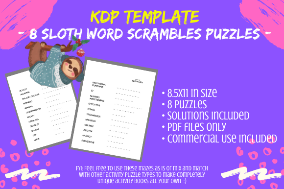 Print on Demand: 8 Sloth Facts Word Scrambles Puzzles Graphic KDP Interiors By Tomboy Designs