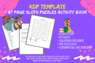 Print on Demand: 87 Page Sloth Activity Book Interior Graphic KDP Interiors By Tomboy Designs