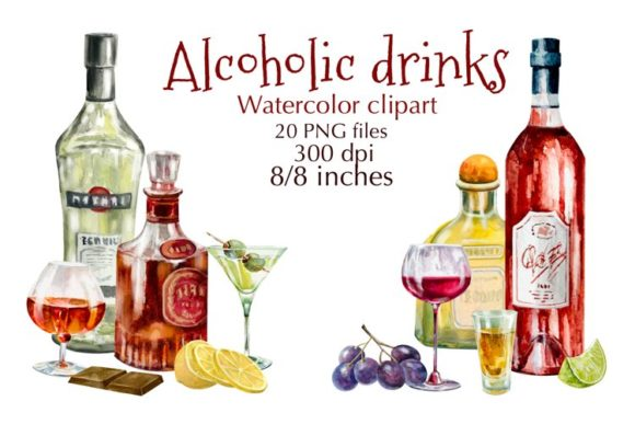 Alcohol Drinks Watercolor Clipart Graphic Illustrations By Marine Universe