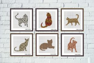 Print on Demand: Animal Print Cats Cross Stitch Set 6 Pcs Graphic Cross Stitch Patterns By Tango Stitch