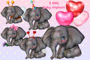 Print on Demand: Baby Elephant Set Graphic Illustrations By ladymishka