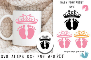 Print on Demand: Baby Footprint Svg. Baby Feet with Crown Graphic Illustrations By vitaminka26