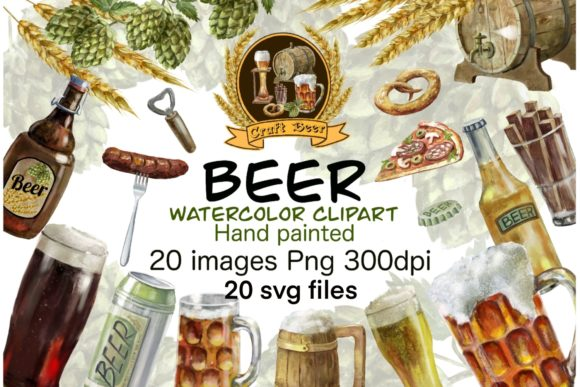 Beer Clipart,bottle Glass Drinks Graphic Illustrations By Marine Universe
