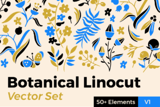 Botanical Linocut Vector Set Graphic Illustrations By ClayStudios