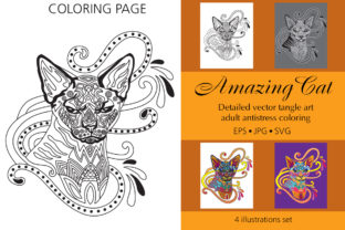 Coloring Page for Adult Amazing Cat Graphic Coloring Pages & Books Adults By Alinart