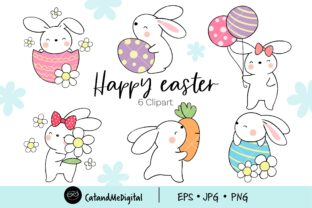 Cute Bunny Easter Clipart. Graphic Illustrations By CatAndMe