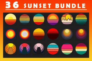 Print on Demand: Distressed Retro Vintage Sunset Clipart Graphic Backgrounds By zerobbat