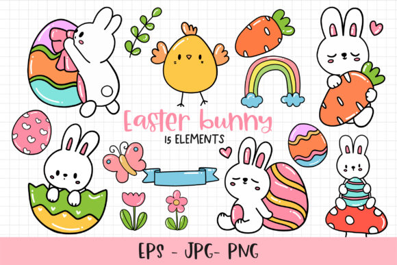 Print on Demand: Easter Bunny Clipart Bundle Graphic Illustrations By Chonnieartwork