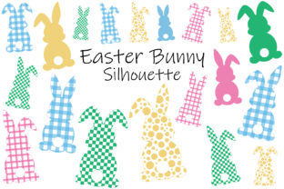 Easter Bunny Silhouettes. Plaid Bunnies. Graphic Illustrations By shishkovaiv