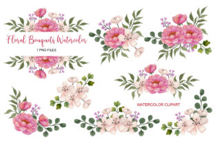 Floral Watercolor Bouquet Clip Art Set 4 Graphic Print Templates By UrufaArt