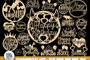 Print on Demand: Happy Birthday SVG, Cake Topper Svg, Png Graphic Crafts By nibaartstudio