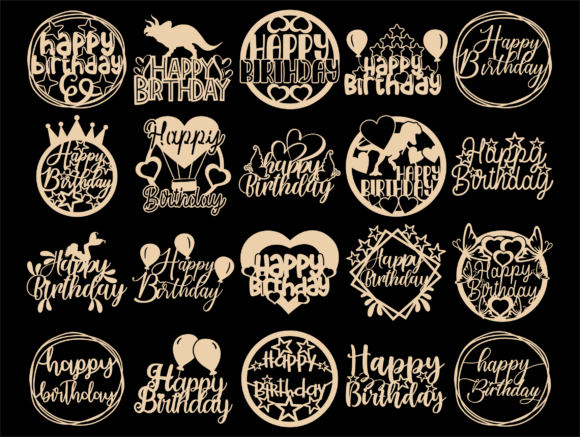 Happy Birthday SVG, Cake Topper Svg, Png Graphic Download