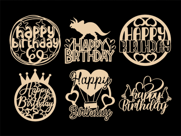 Happy Birthday SVG, Cake Topper Svg, Png Graphic Item