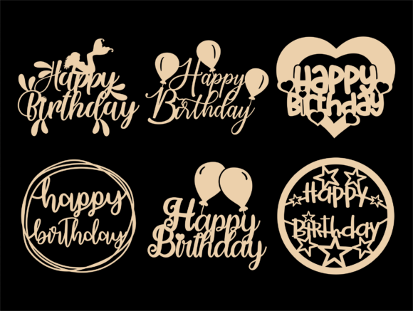 Happy Birthday SVG, Cake Topper Svg, Png Graphic Design