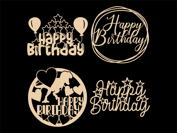 Happy Birthday SVG, Cake Topper Svg, Png Graphic Preview