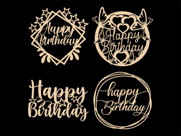 Happy Birthday SVG, Cake Topper Svg, Png Graphic Image