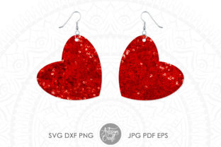 Print on Demand: Heart Earrings SVG Cut File Graphic 3D SVG By Artisan Craft SVG