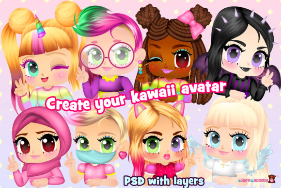 Print on Demand: Kawaii Avatar Creator Graphic Illustrations By ladymishka