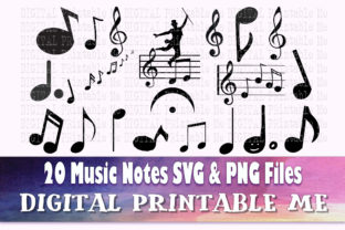 Print on Demand: Music Note Silhouette, Music, SVG, PNG, Graphic Illustrations By DigitalPrintableMe