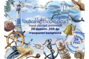 Print on Demand: Nautical Watercolor Set, Sea Travel Clip Graphic Illustrations By Marine Universe 1