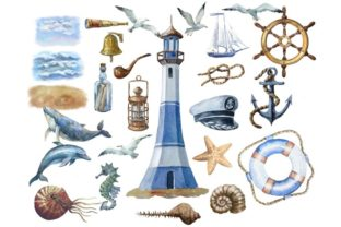 Print on Demand: Nautical Watercolor Set, Sea Travel Clip Graphic Illustrations By Marine Universe 2