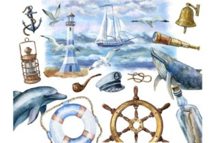 Print on Demand: Nautical Watercolor Set, Sea Travel Clip Graphic Illustrations By Marine Universe 3
