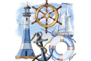 Print on Demand: Nautical Watercolor Set, Sea Travel Clip Graphic Illustrations By Marine Universe 4