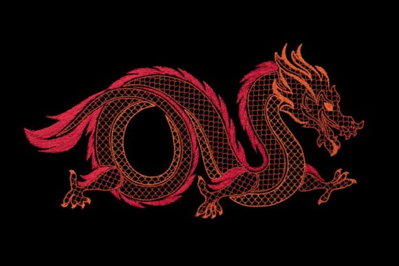Oriental Dragon Motif Embroidery
