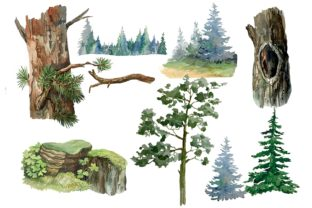 Print on Demand: Owls in the Forest Watercolor Clipart Graphic Illustrations By Marine Universe 3
