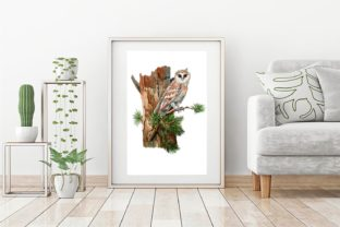 Print on Demand: Owls in the Forest Watercolor Clipart Graphic Illustrations By Marine Universe 5
