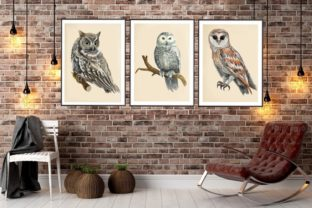 Print on Demand: Owls in the Forest Watercolor Clipart Graphic Illustrations By Marine Universe 9