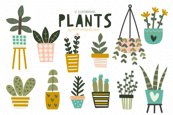 Print on Demand: Plants Clipart Set Graphic Illustrations By poppymoondesign