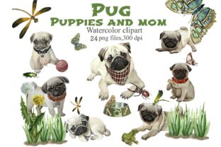 Pug Puppies and Mom Watercolor Clip Art Graphic Illustrations By Marine Universe