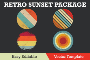 Print on Demand: Retro Sunset with Grunge Package Vector Graphic Illustrations By ohesdesign