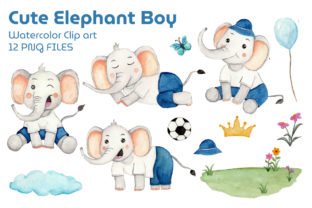 Set of Boy Elephant Watercolor Clipart Graphic Print Templates By UrufaArt