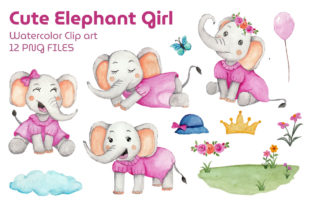 Set of Girl Elephant Watercolor Clipart Graphic Print Templates By UrufaArt