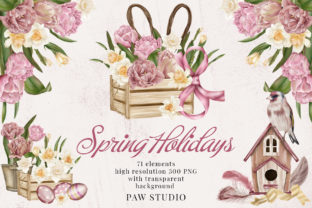 Print on Demand: Spring Holiday Womens Day Easter Clipart Graphic Illustrations By PawStudio