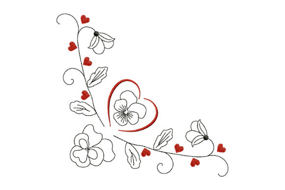 Print on Demand: Valentine's Pansy Valentine's Day Embroidery Design By EmbArt