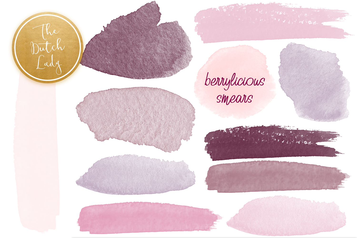 Watercolor Smears in Berry Colors SVG File
