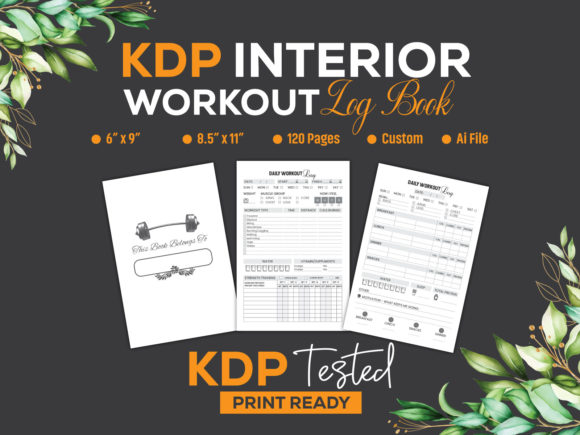 Workout Log Book with Diet- KDP Interior Graphic KDP Interiors By GraphicTech360